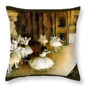 Ballet Rehearsal On Stage Throw Pillow