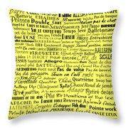 Ballet Terms Black On Yellow Throw Pillow