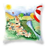 Ballooning In France 2 Throw Pillow