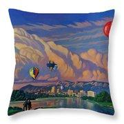 Ballooning On The Rio Grande Throw Pillow