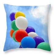 Balloons Against A Cloudy Sky Throw Pillow