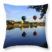 Balloons Heading East Throw Pillow by Carol Groenen