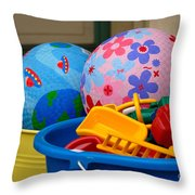 Balls And Toys In Buckets Throw Pillow