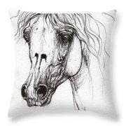 Balon Polish Arabian Horse Portrait 2  Throw Pillow