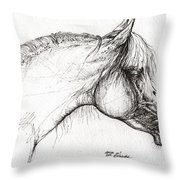 Balon Polish Arabian Horse Portrait 3 Throw Pillow