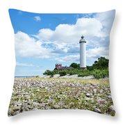 Baltic Sea Lighthouse Throw Pillow