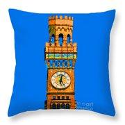 Baltimore Clock Tower Throw Pillow