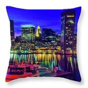 Baltimore Harbor By Night, Baltimore Throw Pillow