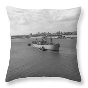 Baltimore Harbor In Black And White Throw Pillow
