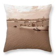 Baltimore Harbor In Sepia Throw Pillow