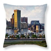 Baltimore Harbor Skyline Panorama Throw Pillow