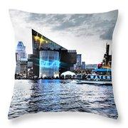 Baltimore - Harborplace - Inner Harbor At Night  Throw Pillow