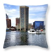 Baltimore Inner Harbor Marina Throw Pillow by Olivier Le Queinec