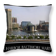 Baltimore Inner Harbor Panorama Throw Pillow