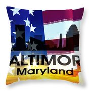 Baltimore Md Patriotic Large Cityscape Throw Pillow