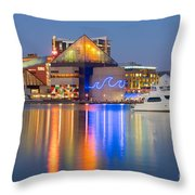 Baltimore National Aquarium At Twilight I Throw Pillow