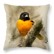 Baltimore Oriole Watercolor Art Throw Pillow