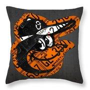 Baltimore Orioles Vintage Baseball Logo License Plate Art Throw Pillow