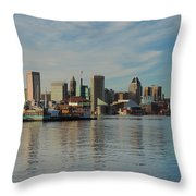 Baltimore Skyline Across The Harbor Throw Pillow