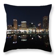 Baltimore Skyline At Night Throw Pillow
