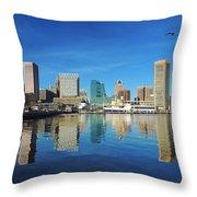 Baltimore Skyline From The Innner Harbor Throw Pillow