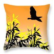 Bamboo Bird Throw Pillow