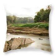 Bamboo Bridge At The Tip Of The Luang Throw Pillow