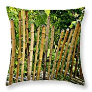 Bamboo Fencing Throw Pillow by Lilliana Mendez