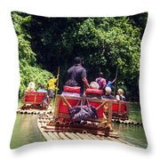Bamboo River Rafting Throw Pillow
