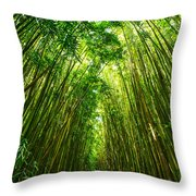 Bamboo Sky - The Magical And Mysterious Bamboo Forest Of Maui. Throw Pillow