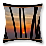 Bamboo Sunset - Black Frame Throw Pillow