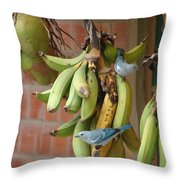 Banana Birds Throw Pillow