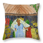 Banana Vendor Throw Pillow