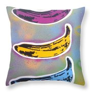 Bananas Go Pop Throw Pillow