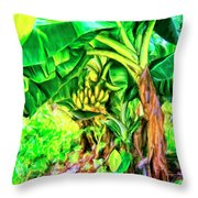 Bananas In Lahaina Maui Throw Pillow