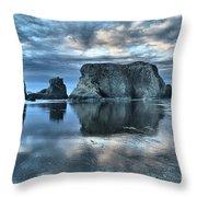 Bandon Beach Sunset Reflections Throw Pillow