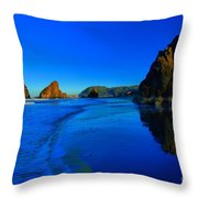 Bandon Blue And Gold Throw Pillow by Adam Jewell