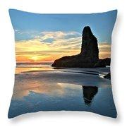Bandon Oregon Sunset Throw Pillow by Adam Jewell