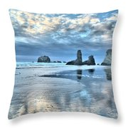 Bandon Sea Stack Reflections Throw Pillow