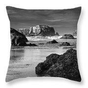 Bandon Sea Stacks Black And White Throw Pillow