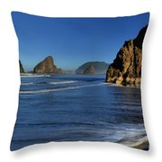 Bandon Sea Stacks In The Surf Throw Pillow by Adam Jewell