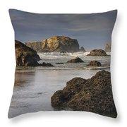 Bandon Sea Stacks Throw Pillow