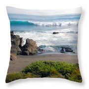 Bands Of Green Brown And Blue Of The Beach Throw Pillow