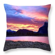 Banff Sunrise Six Minutes Later Throw Pillow