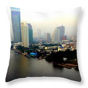 Bangkok In Early Morning Light Throw Pillow