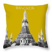 Bangkok Thailand Skyline Wat Arun - Gold Throw Pillow