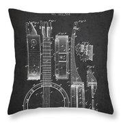 Banjo Patent Drawing From 1882 Dark Throw Pillow