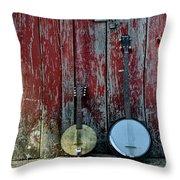 Banjos Against A Barn Door Throw Pillow