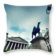 Bank Of England The Royal Exchange And The Wellington Statue Londonuk Throw Pillow