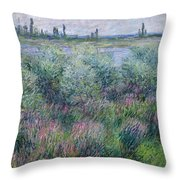 Banks Of The Seine At Vetheuil Throw Pillow